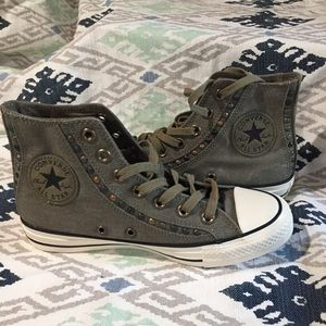 New RARE Converse Olive Green Studded High Tops
